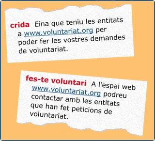 Definició de Crida i Fes-te voluntari